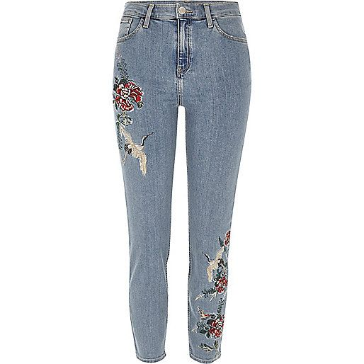 Blue wash embroidered Lori jhigh rise jeans