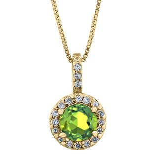 Halo Jewelry - Peridot Birthstone Diamond Halo Pendant In Yellow Gold Available Exclusively at Gemologica.com