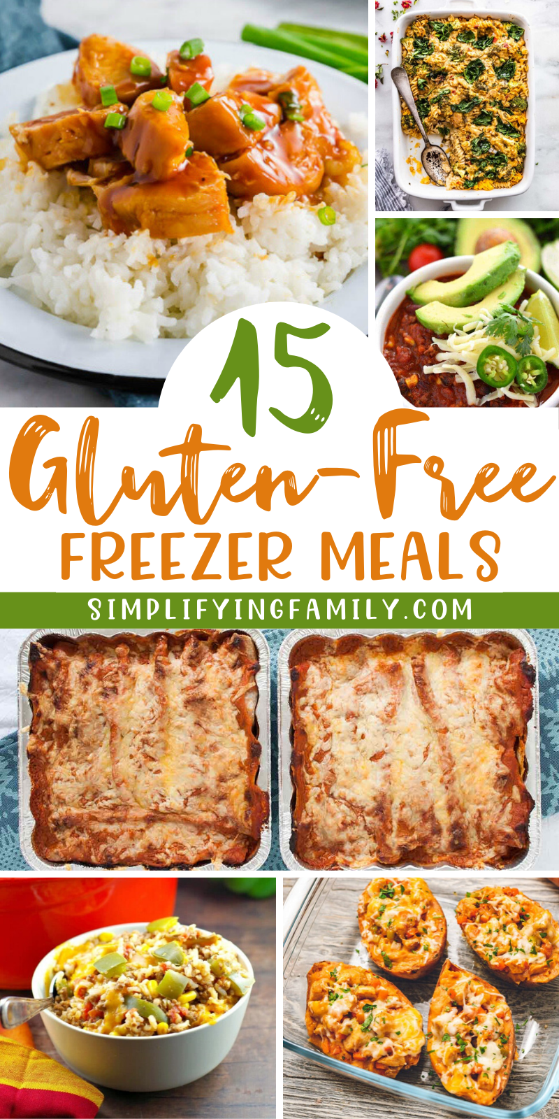 We've found 15 delicious gluten-free meals you can make to stock your freezer. You can pull a dish out to thaw, heat it when you're ready, and you have a homecooked meal with no muss or fuss at all. #glutenfree #glutenfreemealideas #freezermeals #GFfreezermeals #stockyourfreezer #allergyfriendlymeals