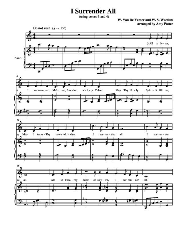 Free Sheet Music Weeden Winfield Scott I Surrender All Piano
