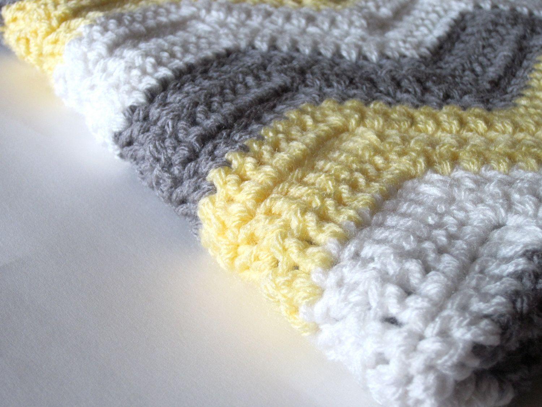 Crochet Baby Blanket Chevron Ripple Yellow Gray White. $45.00, via ...