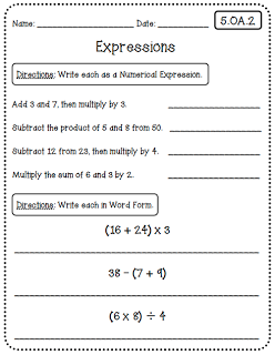 Common Core Math Worksheets (5th Grade Edition) at Create●Teach ...