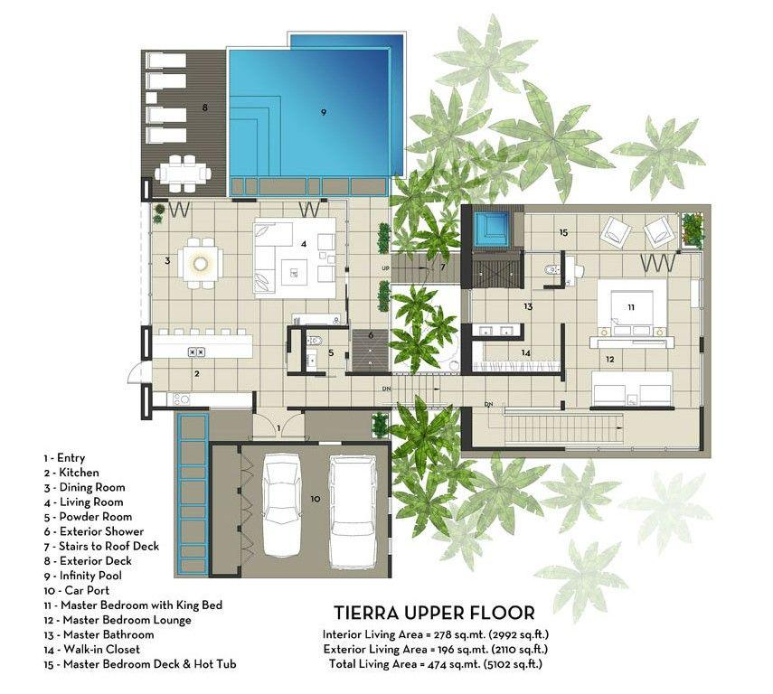 Luxury Floor Plans | Upper Floor Plan For Luxury Vacation Home In ...