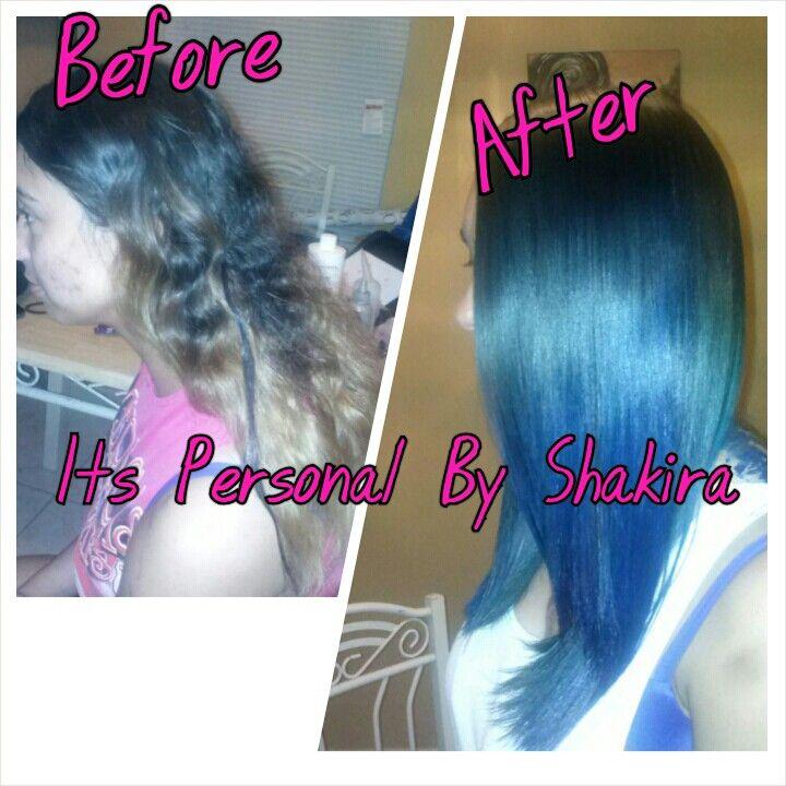 Color Blue Hair Green Hair Flat Iron Silk Press Ombre Flat Iron