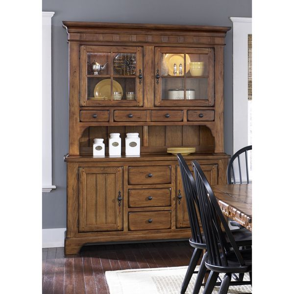 Rustic Oak Kitchen Cabinets: Liberty Rustic Oak Buffet And Hutch