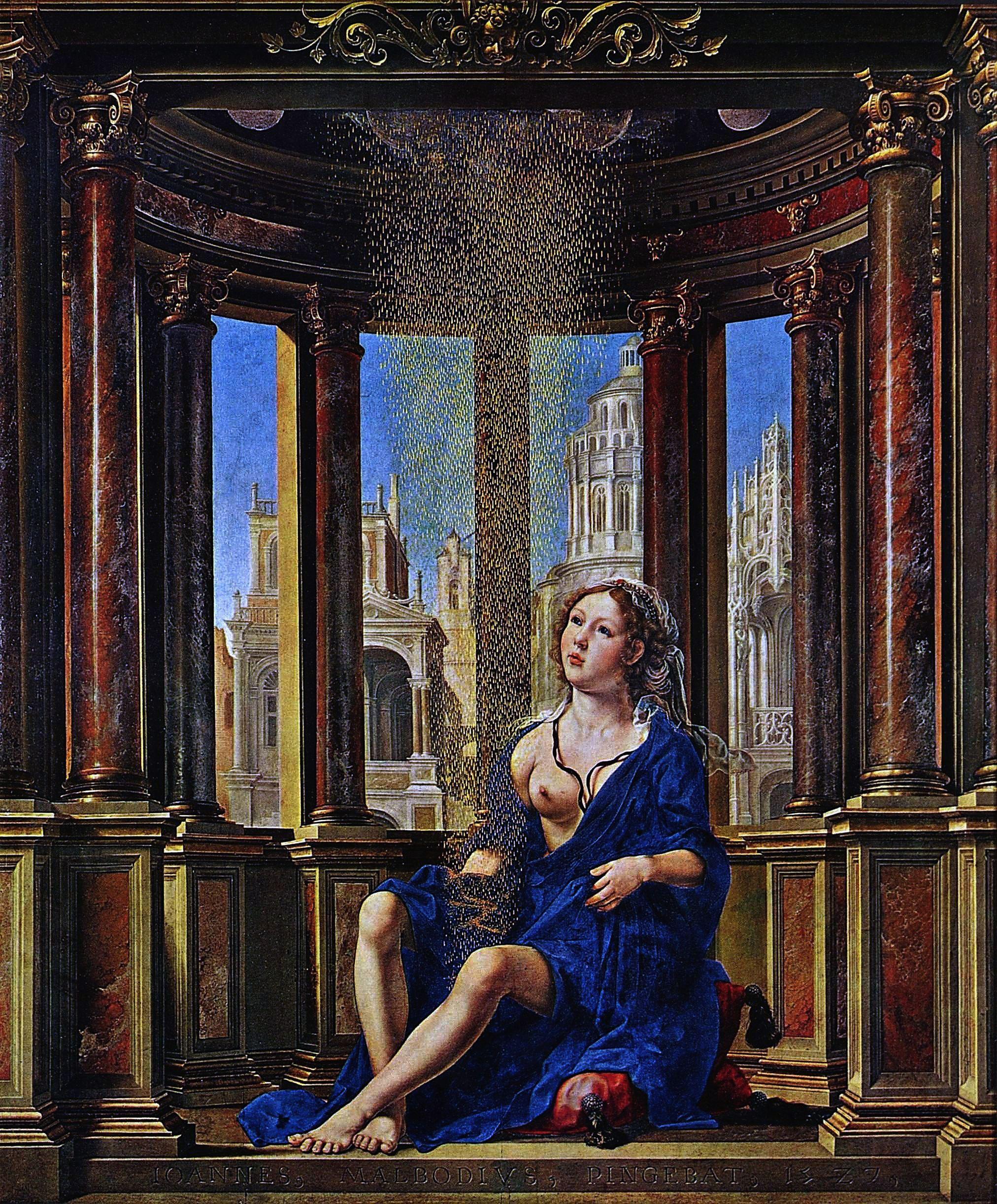 Jan Gossaert (dit Mabuse), Danaé, 1527, Huile sur toile, 177,2×161,8 cm, Alte Pinakothek, Monaco di Baviera.