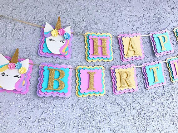 Unicorn Birthday Banner Unicorn Decorations/Unicorn Happy