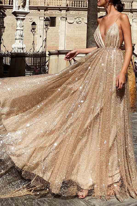 Sparkle Backless Plunging Neckline Sequin Long Prom Evening Dress