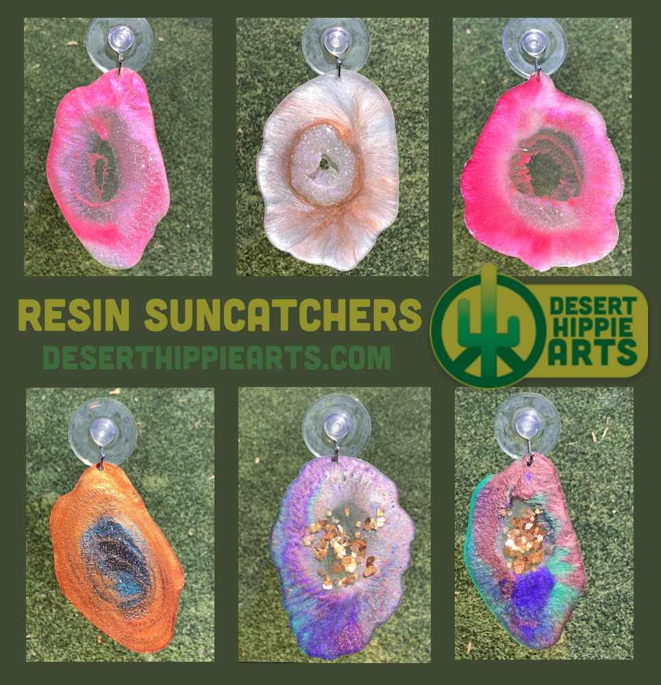 Our handcrafted geode sun-catchers are made from clear and colored resin, glitter and sometimes include rocks and gems. These are unique, one-of-a-kind art pieces that can be hung in a window (suction cup is included).    #coloredresin #geode #geodeart #geodeartideas #resinart #resinartideas #resinarttechniques #resingeodesuncatcher #geodesuncatcher #suncatcher