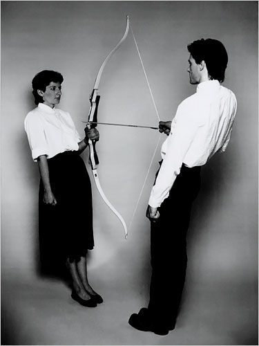 """Marina Abramović & ULAY, Still from """"Rest Energy"""" (1980), 16mm film transferred to video (color, sound), 4:07 min."""