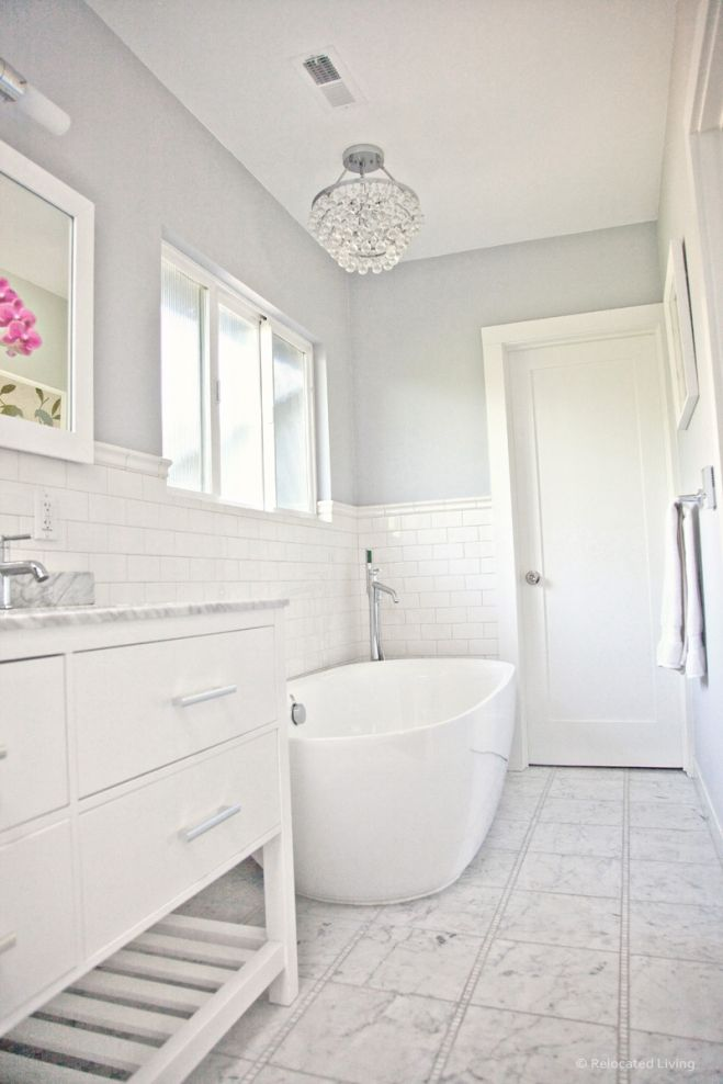 In terms of paint we went with benjamin moore s aura - Bathroom paint colors with gray tile ...