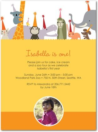 Birthday Party Invitations Zoo Party Front Mustard party