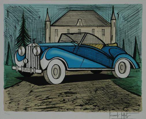 Magnificent Bernard Buffet The Blue Rolls Royce Medium Lithograph Home Interior And Landscaping Spoatsignezvosmurscom