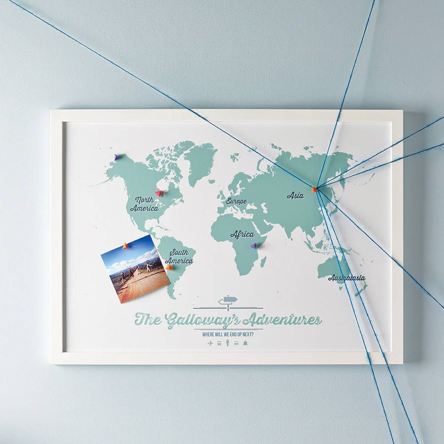 personalised map of the world pinboard