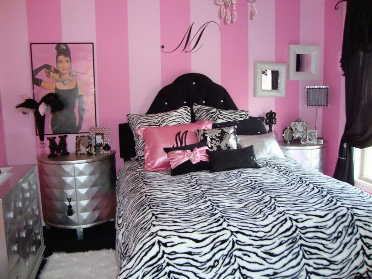 Captivating Funky Girl Theme Wall Decoration Feat Modern Zebra Print Bedroom Bedding  Set Idea Also Tufted Headboard