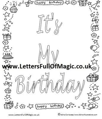 Birthday Fairy Girl - It's my birthday Colouring Sheet ...