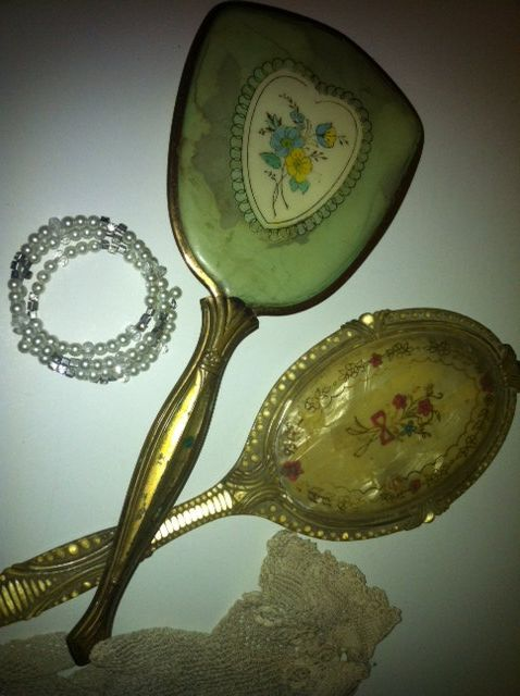 Two Beautiful Art Deco Vintage Handheld Mirrors by MissClemintines, $20.00