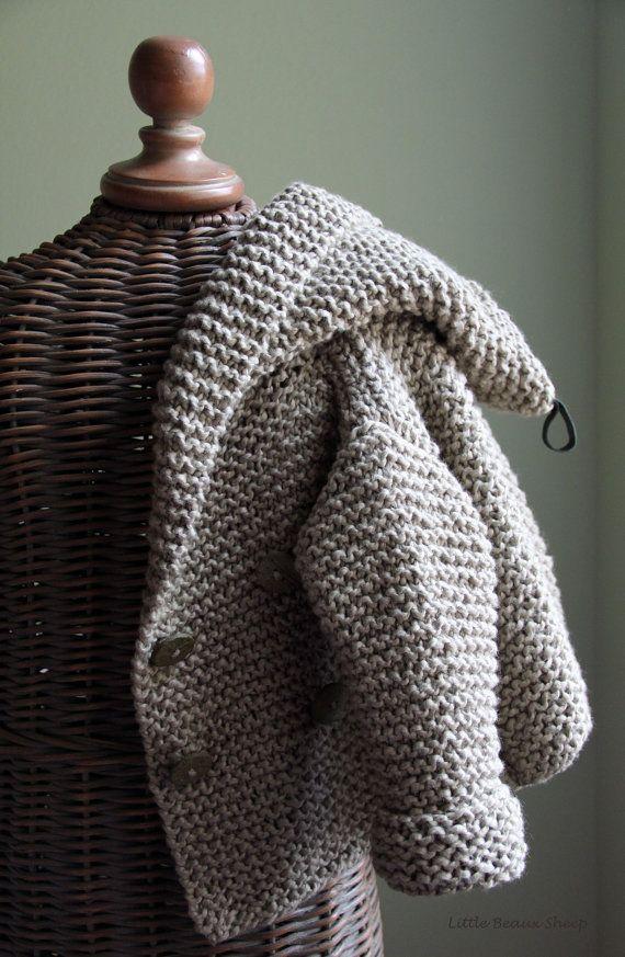 Hand knitted Handmade Baby Children Organic Cotton Sweater Coat ...
