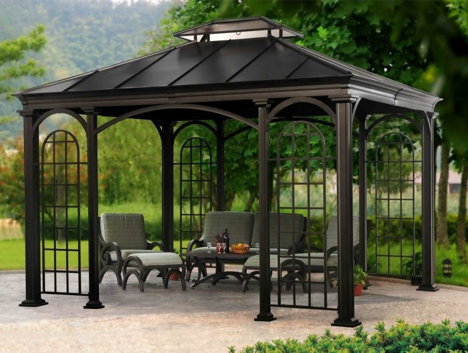 Charmant Breathtaking Patio Gazebo With Metal Roof On Very Dark Brown Spray Paint  Also A Set Of Vintage Wood Outdoor Chairs On Top Of Granite Look Concrete  Floor ...