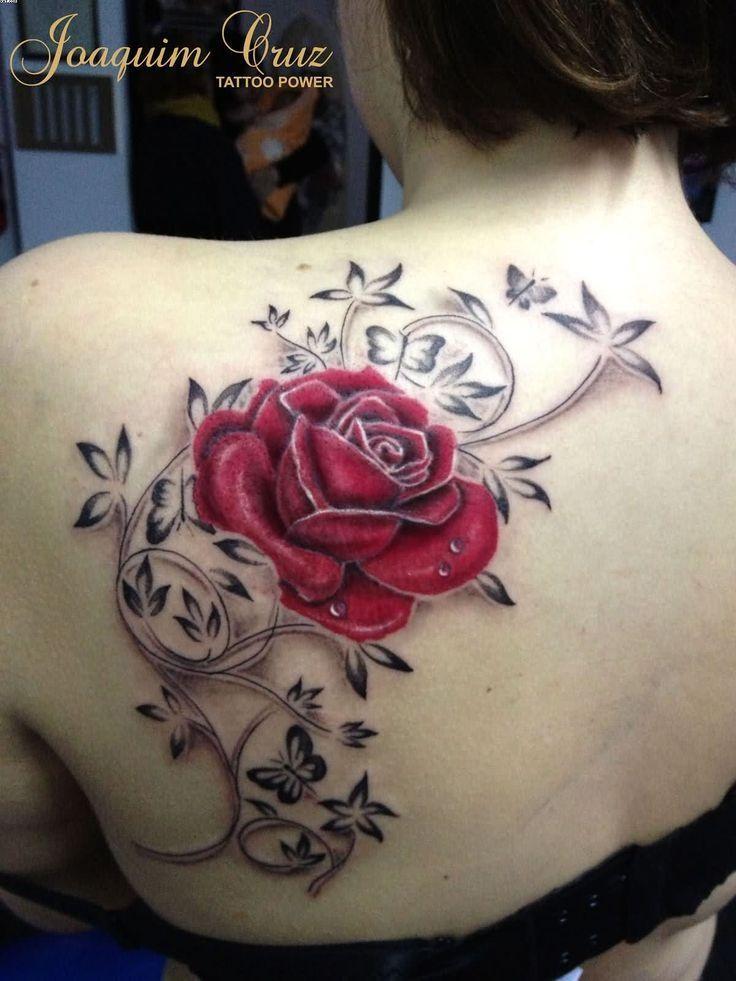Rose Tattoos On Back Shoulder With Name Tattoos For Kids Shoulder Tattoo Back Of Shoulder Tattoo