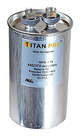 Titan Trcfd4575 Dual Rated Motor Run Capacitor Round Mfd 45 7 5 Volts 440 370 Home Improvement Hvac System Capacitor Capacitor Hvac System Titans