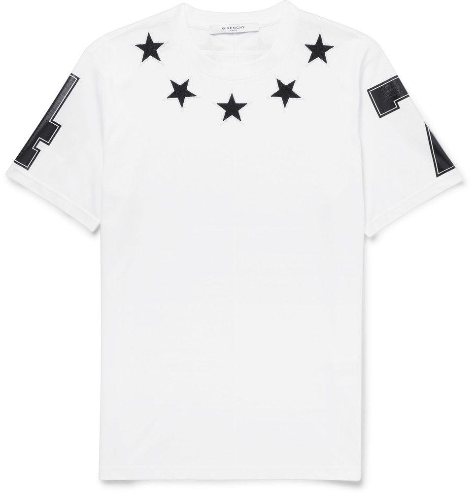 Givenchy - Cuban-Fit Appliquéd white Cotton-Jersey T-Shirt 360 EUR.