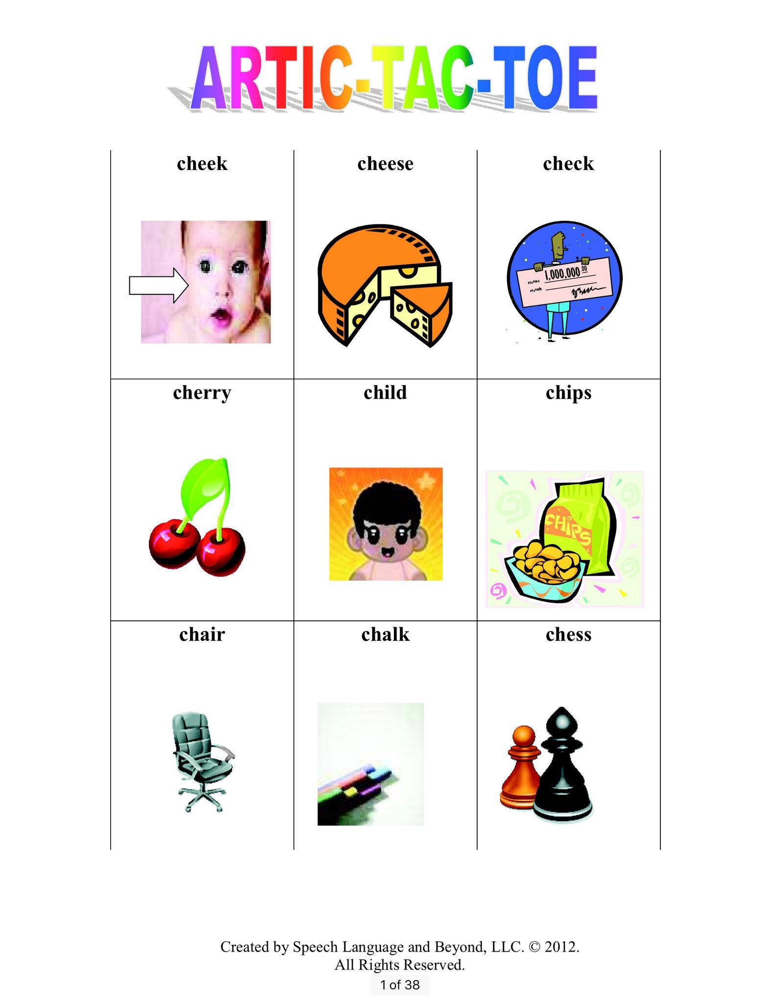 Artic Tac Toe Speech Therapy Activity Book For Producing
