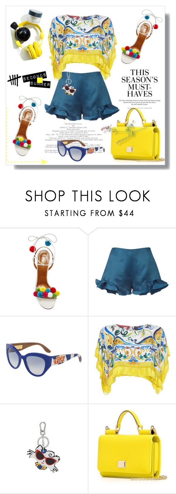 """""""Seconds to summer"""" by lidia-solymosi ❤ liked on Polyvore featuring Aquazzura, Mary Katrantzou, H&M, Dolce&Gabbana and Karl Lagerfeld"""