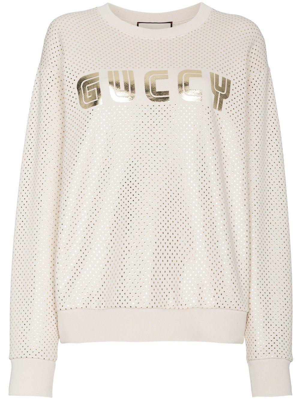 c14a003f010 Gucci Metallic Logo Sweatshirt In Neutrals