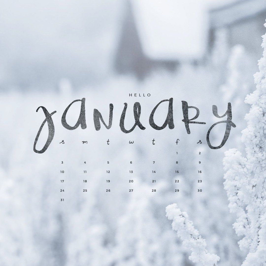 Hello January! Downloadable Calendar Freebie. - Okay Miss
