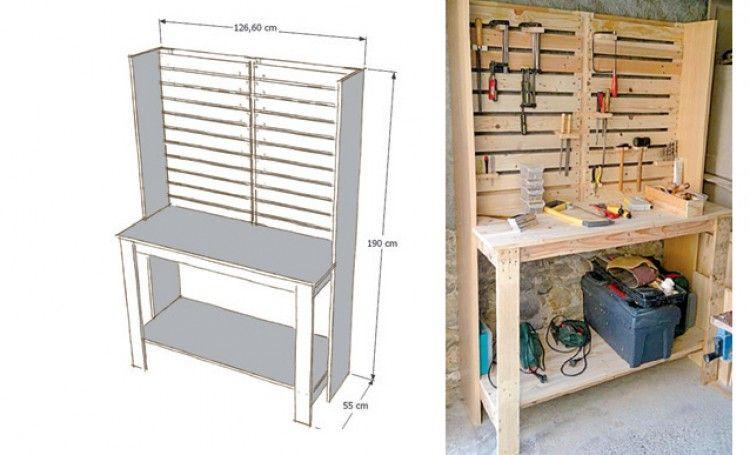 Construire un meuble d 39 atelier avec des palettes en 2019 atelier atelier rangement et - Construire des meubles avec des palettes ...