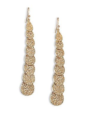 St. John Faceted Swarovski Stone Drop Earrings - Light Gold