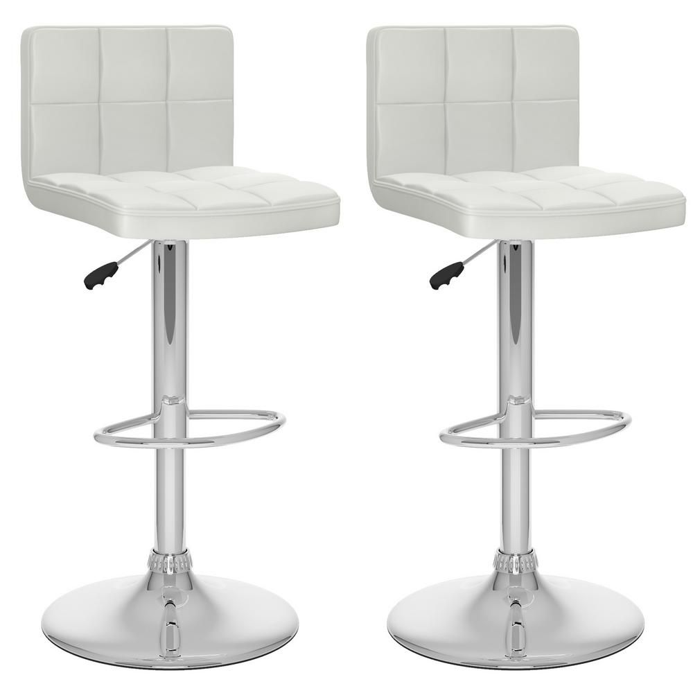 Corliving Adjustable White Leatherette High Back Bar Stool Set Of