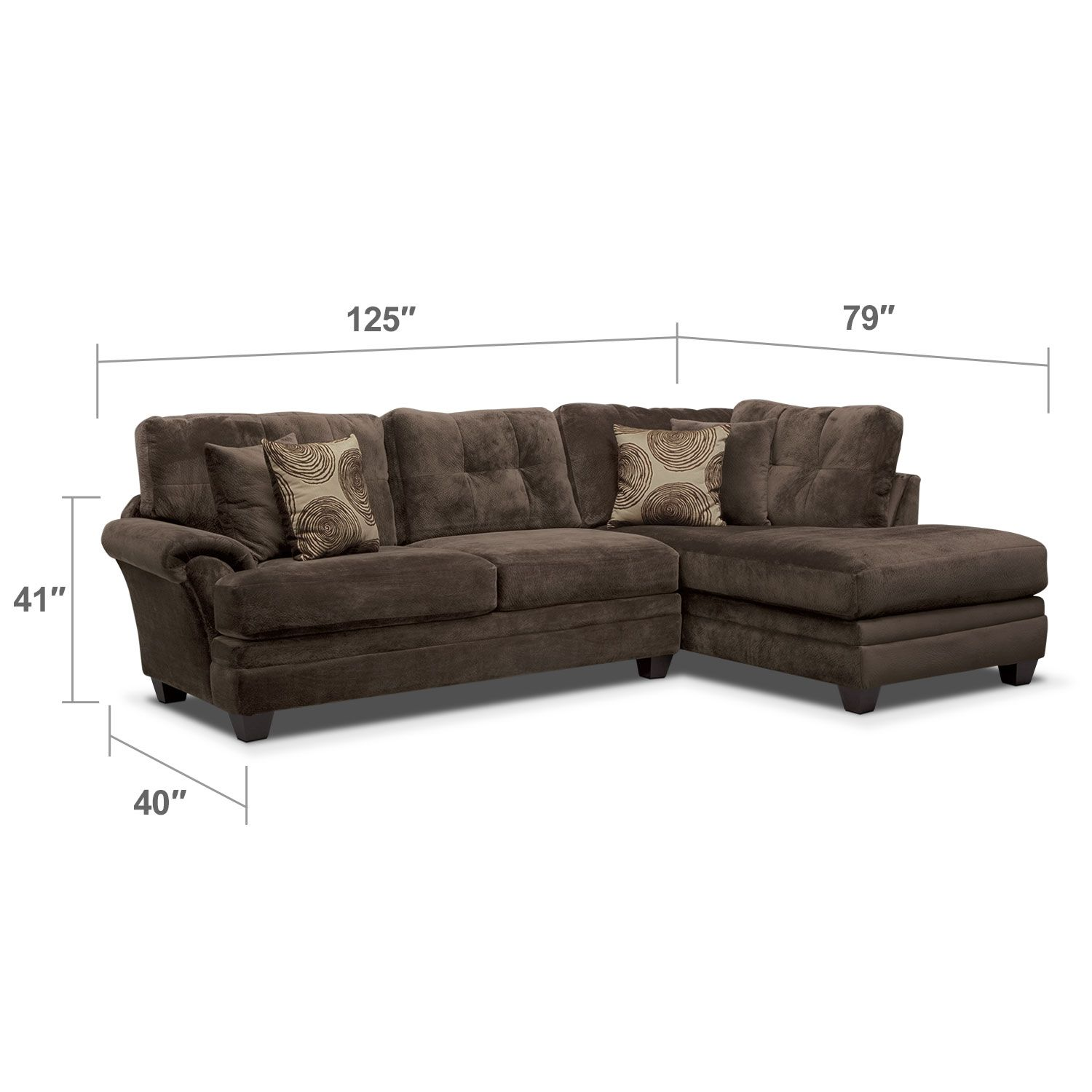 Cordelle 2-Piece Right-Facing Chaise Sectional - Chocolate ...
