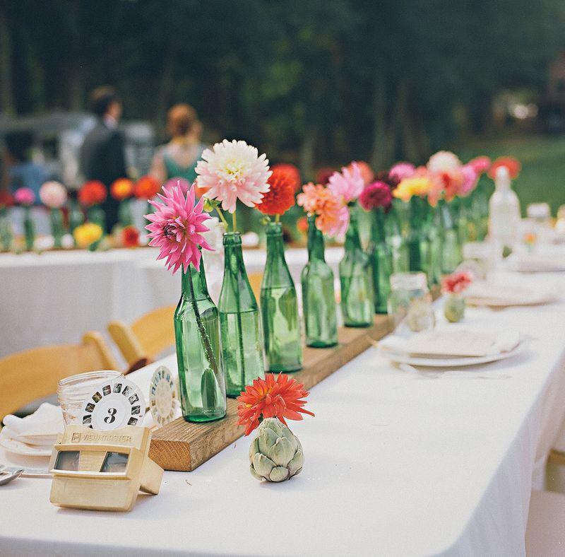 Flower Table Decorations For Weddings: Green Bottle Single Flower Centerpiece Happinessisblog.com