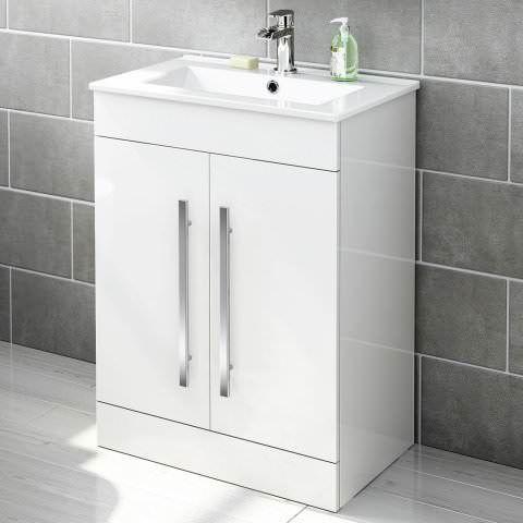 600mm Avon Gloss White Floor Standing Basin Cabinet Soak Com