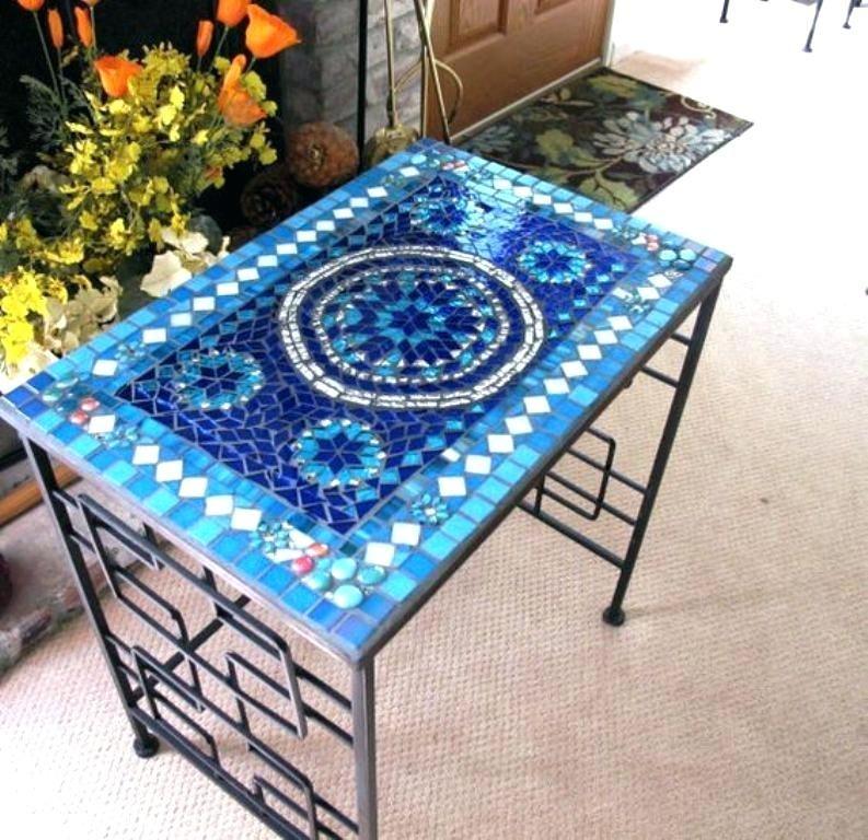 Mosaic Tile Table Top Outdoor Design For Patio Ideas Desig Furniture Art