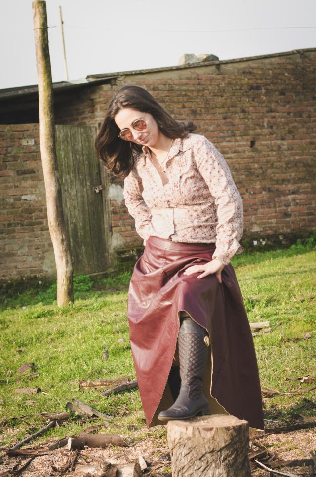 Saia de couro vinho - burgundy leather skirt
