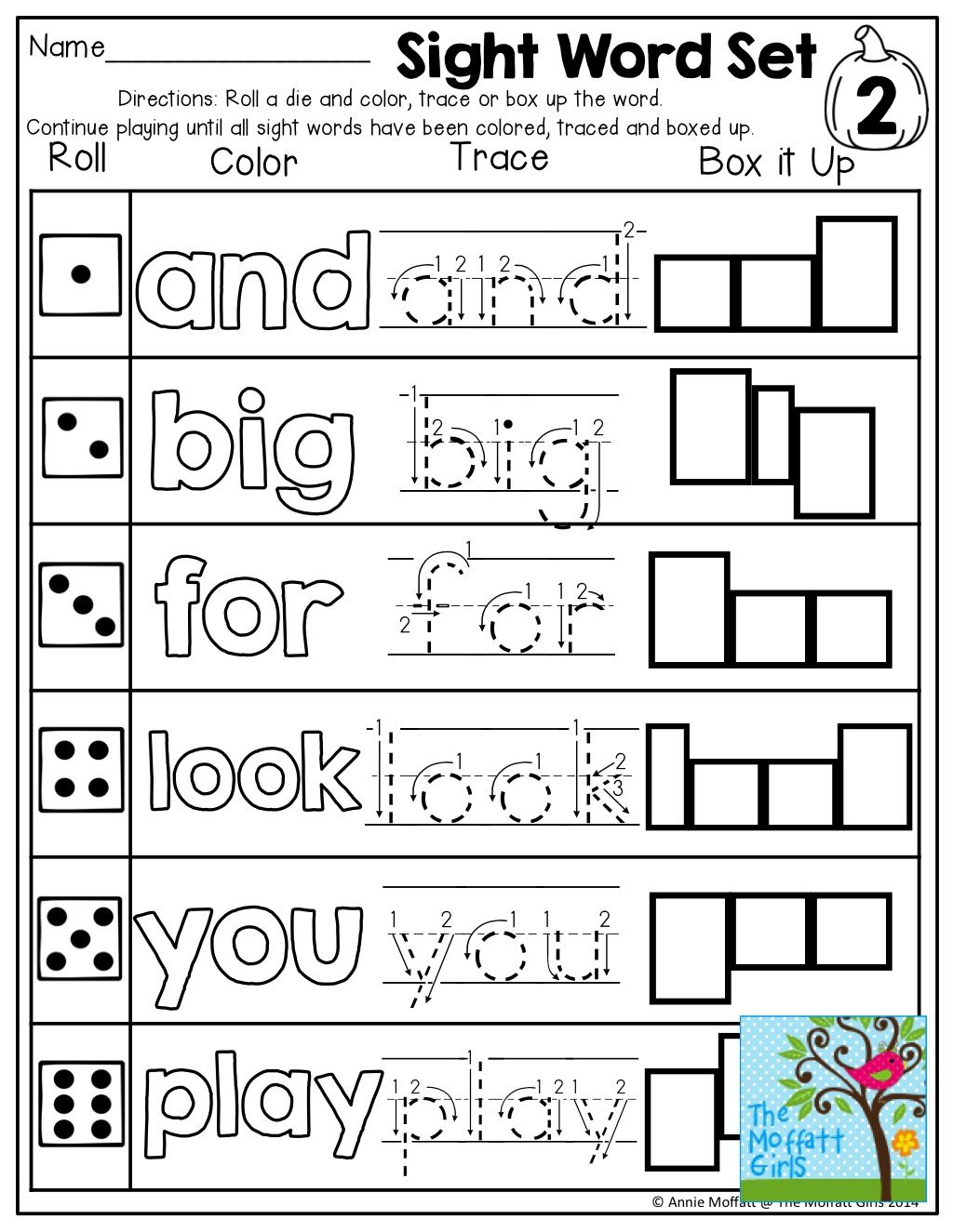 Roll A Color Trace Or Box Up A Sight Words Tons Of