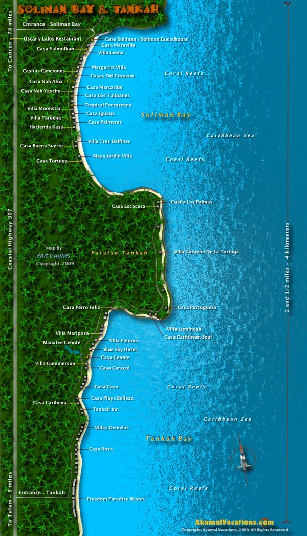Map Of Soliman Bay Tankah Riviera Maya Mexico Our House Is On
