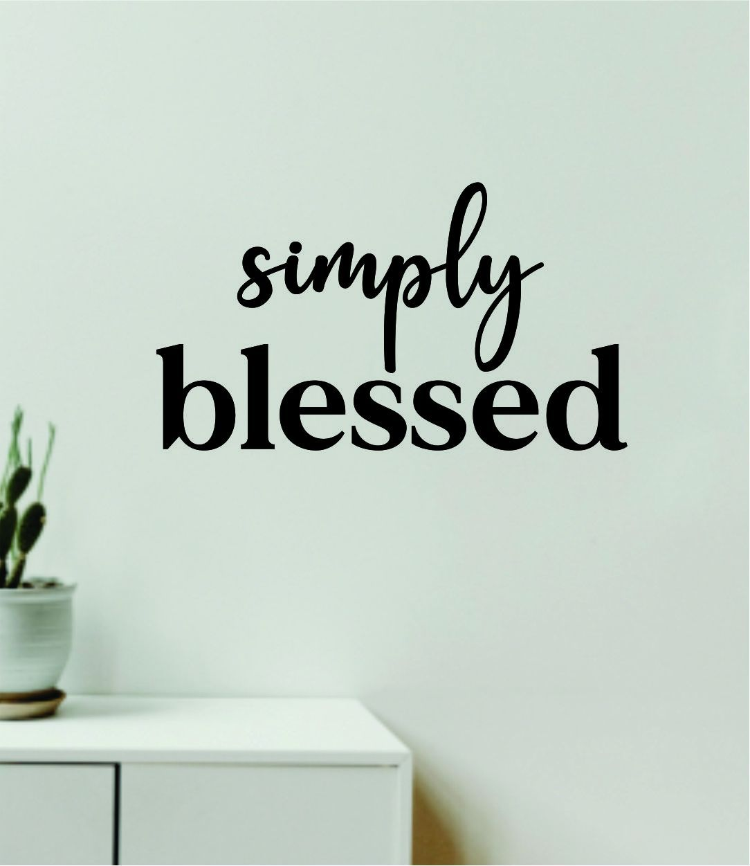 Simply Blessed Wall Decal Home Decor Vinyl Art Sticker Bedroom Quote Nursery Baby Teen Boy Girl School Inspirational Love - purple