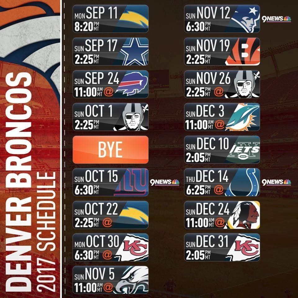 Denver Broncos Schedule: 2017-18 DENVER BRONCOS PRO NFL FOOTBALL SCHEDULE SEASON