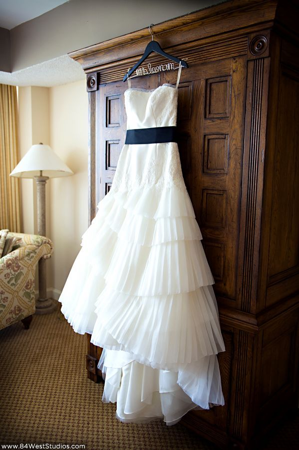 Lace and ruffles wedding dress with personalized wire hanger ...