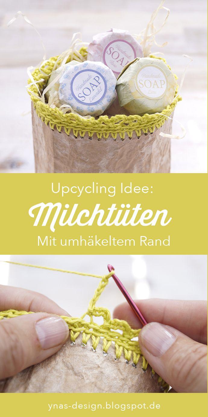 Photo of Upcycling Milchtüten mit einer Häkelborde.