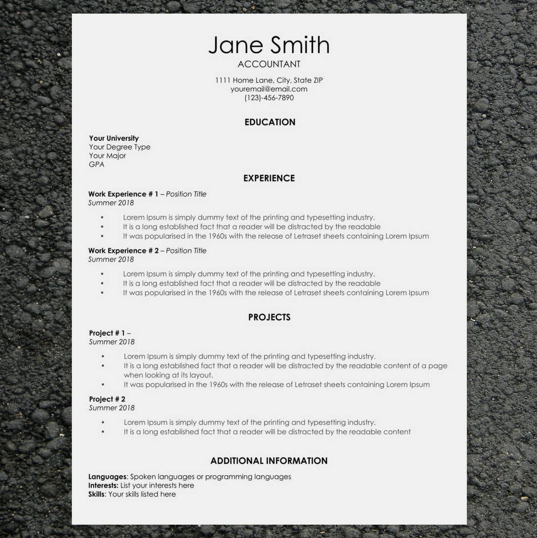 Classic Resume/CV Template Word Cover Letter Template