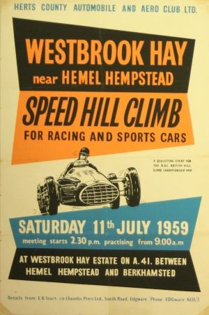 Westbrook Hay Speed Hill Climb Original Vintage Poster - Sports cars posters