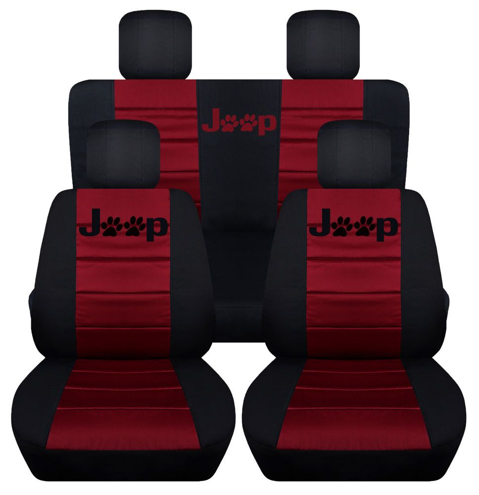 Black Burgundy With Jeep Paw Prints Logo Seat Covers Do Not Only Protect The Original Seat But Also Give Jeep Seats Jeep Wrangler Accessories