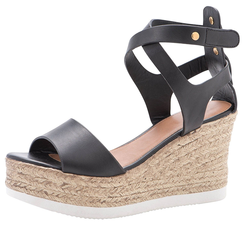 Cambridge Select Womens Ankle Strap Open Toe Espadrille Platform Wedge Sandal