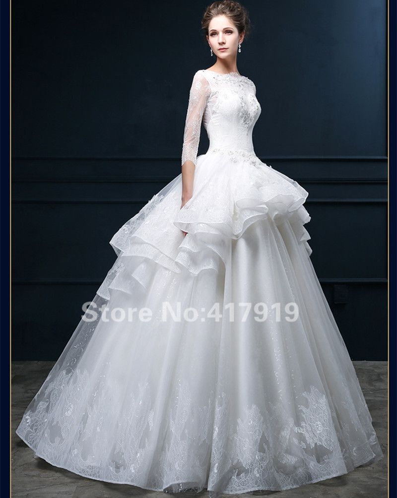 new ball gown wedding dress high neck half sleeve lace beading