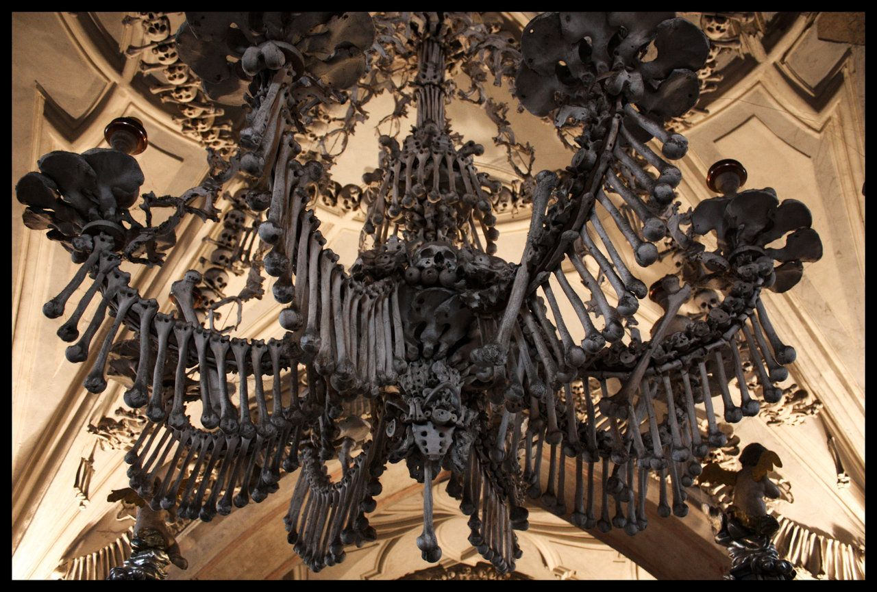 Chandelier Made From Human Bones In The Sedlac Ossuary Prague